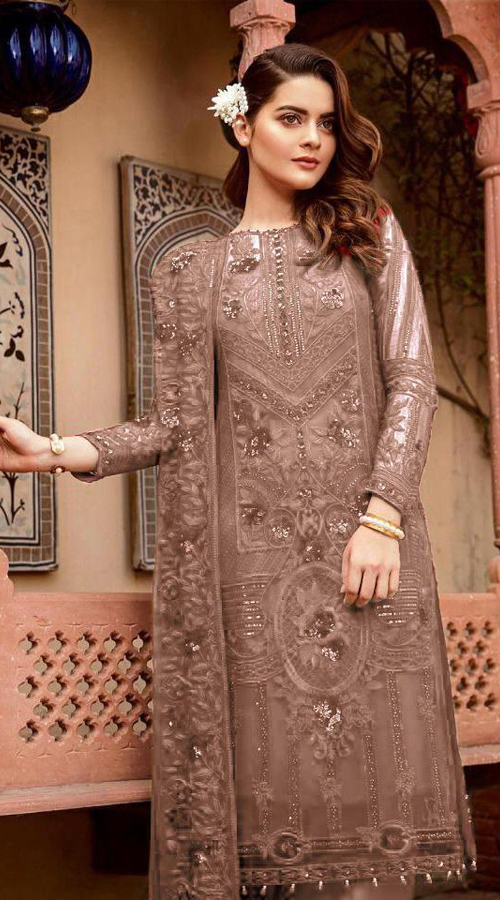 Designer Party Wear Heavy Georgette Pakistani Style Suit in Light brown color ROT9444111293