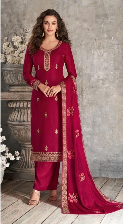 Designer Styles Faux Georgette Anarkali Suit in Maroon color YSH6467166
