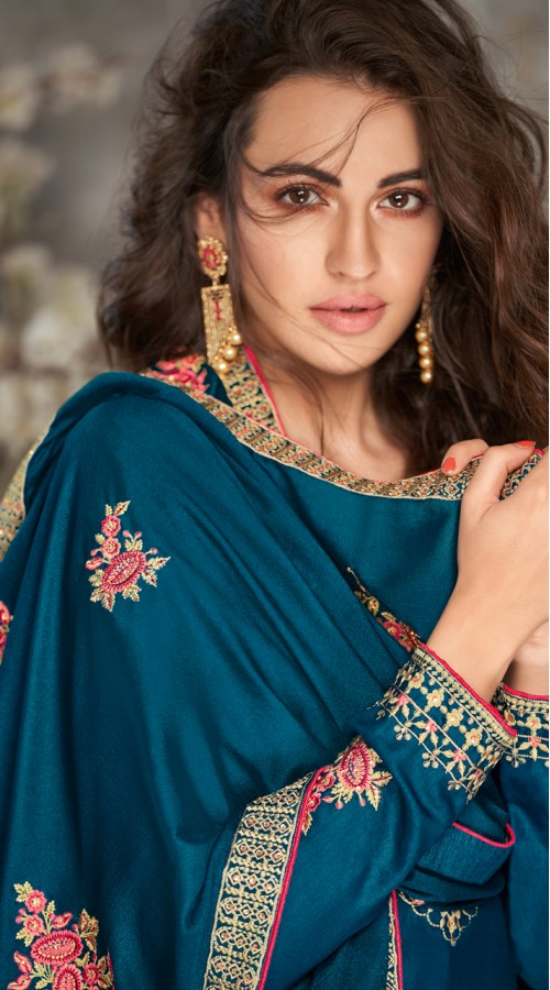 Designer Styles Faux Georgette Anarkali Suit in Navy Blue color YSH6467167