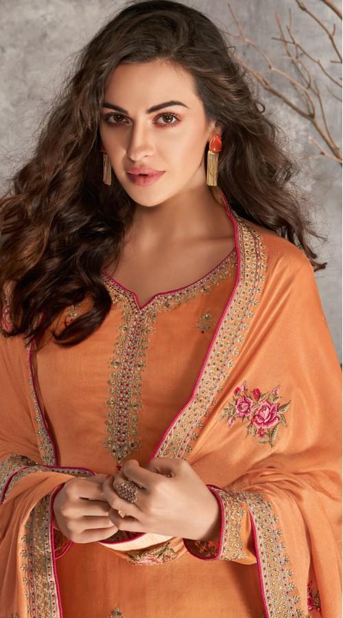 Designer Styles Faux Georgette Anarkali Suit in orange color YSH6467168