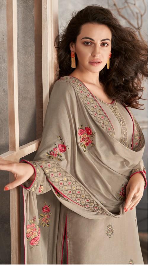 Designer Styles Faux Georgette Anarkali Suit in light grey color YSH6467170