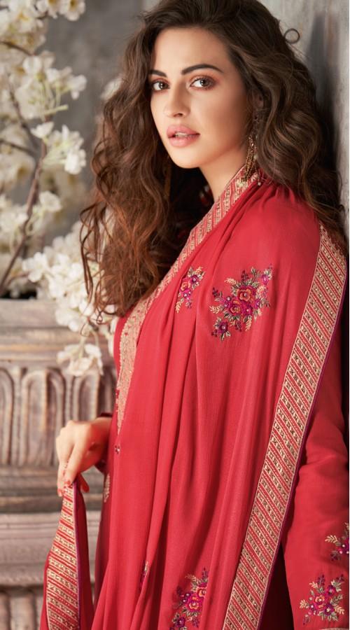 Designer Styles Faux Georgette Anarkali Suit in Light Crimson pink Color YSH6467171