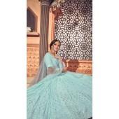 YSHBMv12-1722 Sky Blue color Semi Stitched Embroidered Lehenga Choli