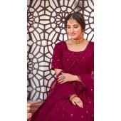 YSHBMv12-1723 Deep Pink color Semi Stitched Embroidered Lehenga Choli