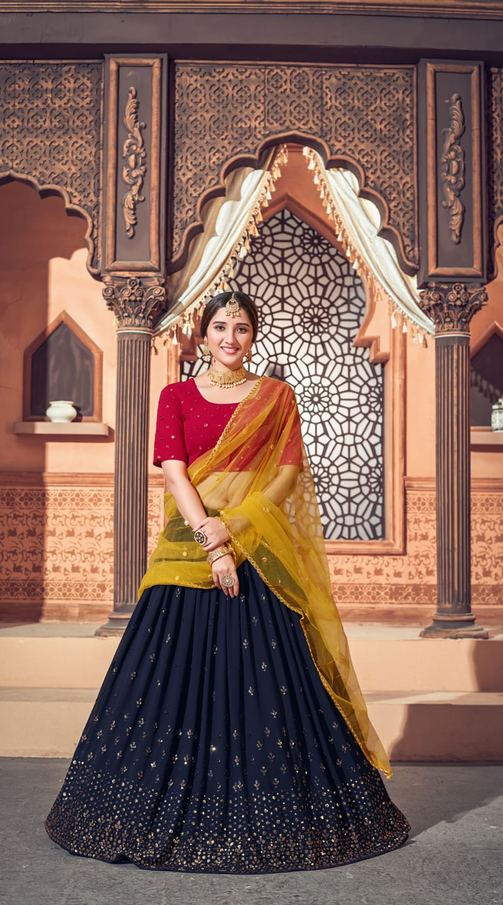 YSHBMv12-1724 Navy Blue - Deep Pink - Mustered Yellow color Semi Stitched Embroidered Lehenga Choli
