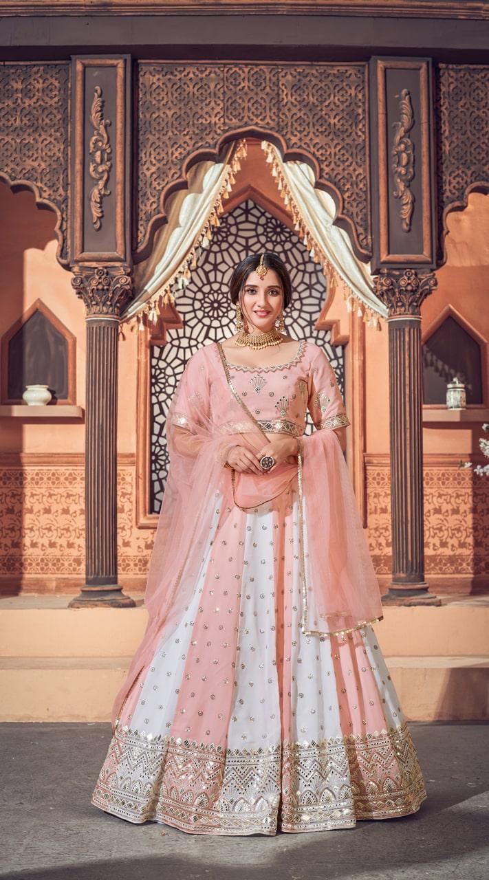 YSHBMv12-1725 Multi Color Pink Semi Stitched Embroidered Lehenga Choli