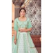 YSHBMv12-1726 Multi Color Pista Green Semi Stitched Embroidered Lehenga Choli