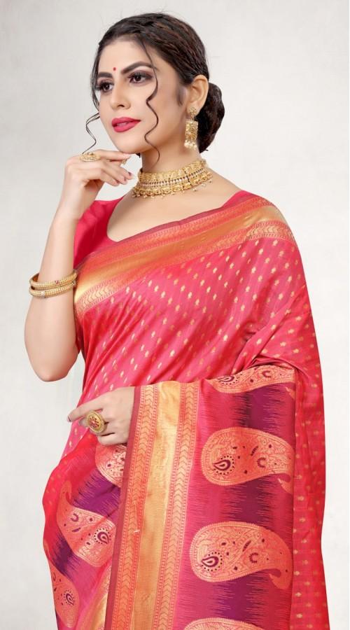 TEWVDYAV7-7002 Crimson Color Jacquard Silk Saree