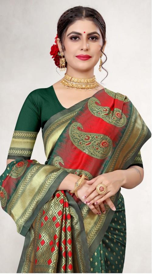 TEWVDYAV7-7005 Green Color Jacquard Silk Saree