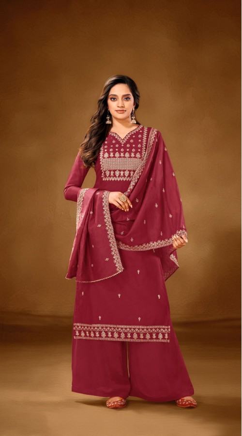 Designer party wear pure cotton lawn plazzo suit in Maroon color ROT9491111728