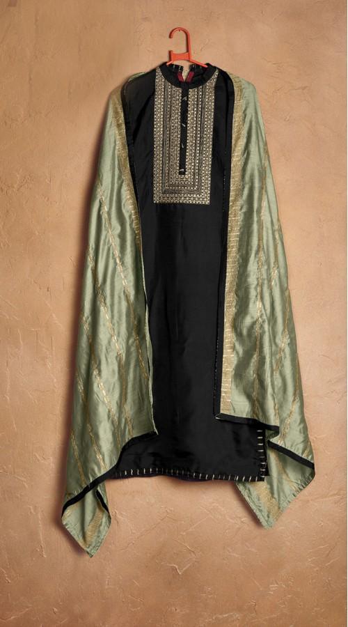 Designer party wear pure cotton lawn plazzo suit in Black color ROT9491111729