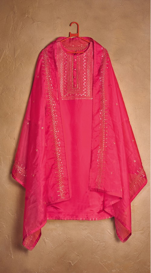 Designer party wear pure cotton lawn plazzo suit in Pink color ROT9491111730
