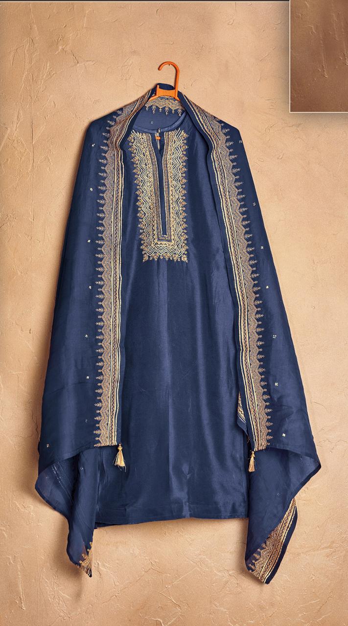 Designer party wear pure cotton lawn plazzo suit in Blue color ROT9491111731