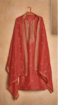 Designer party wear pure cotton lawn plazzo suit in Red color ROT9491111732
