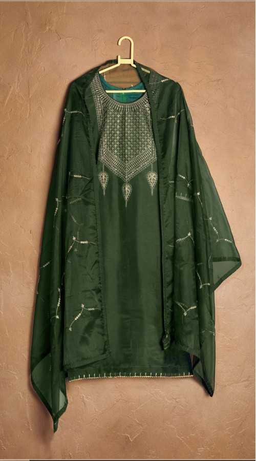 Designer party wear pure cotton lawn plazzo suit in Steel Green color ROT9491111733