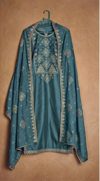 Designer party wear pure cotton lawn plazzo suit in Sky Blue color ROT9491111734