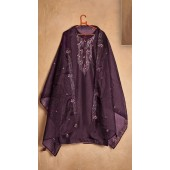 Designer party wear pure cotton lawn plazzo suit in Purple color ROT9491111735
