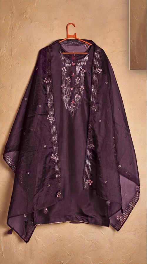 Designer party wear pure cotton lawn plazzo suit in Purple color ROT9491111735