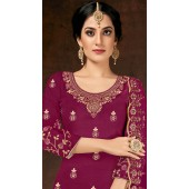 Readymade party wear jam cotton patiyala suit in Rani pink color ROT9492111736