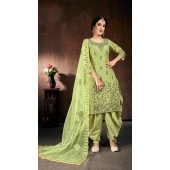 Readymade party wear jam cotton patiyala suit in Light Green color ROT9492111737