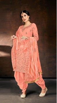 Readymade party wear jam cotton patiyala suit in Peach color ROT9492111738