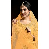 Readymade party wear jam cotton patiyala suit in yellow color ROT9492111739