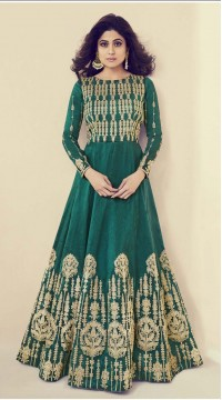 Designer Heavy salwar suit in Green color ROTASHAD8083