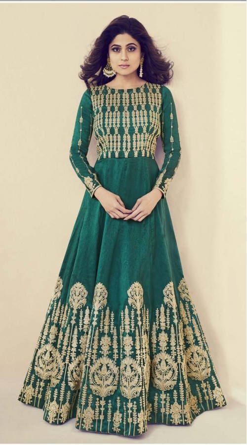 Designer Heavy salwar suit in Green color ROTASHAD8083