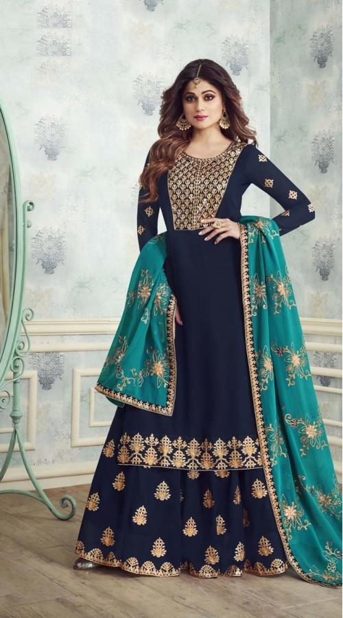 Designer Heavy salwar suit in Navy Blue color ROTASHAD8231