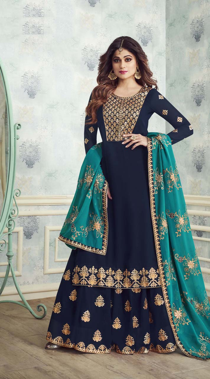 Designer Heavy salwar suit in Navy Blue color ROTASHAD8231