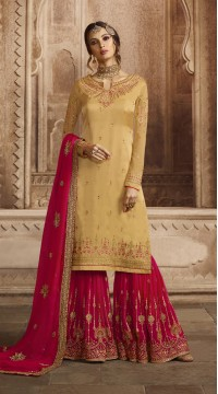 GLOSSY Satin Georgette Salwar Suit in Off yellow color ROTGRSHD59042