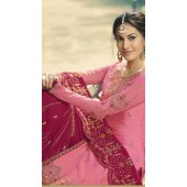 GLOSSY Satin Georgette Salwar Suit in Pink color ROTGRSHD77883
