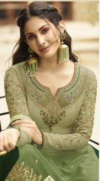 GLOSSY Satin Georgette Salwar Suit in Sheded Green color ROTGRSHD88531