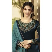 GLOSSY Satin Georgette Salwar Suit in Teal Blue color ROTGRSHD88535