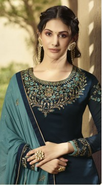 GLOSSY Satin Georgette Salwar Suit in Teal Blue color ROTGRSHD88535