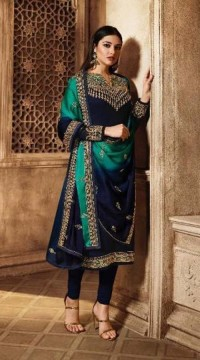 Designer Georgette salwar suit in Blue color ROTLT3903
