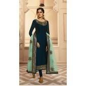 Designer Satin Georgette salwar suit in Tea Blue color ROTLT4201
