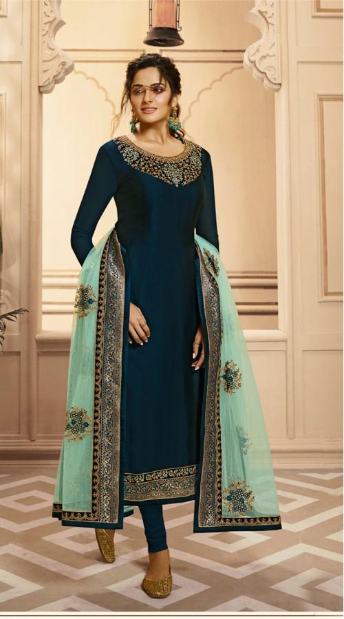 Designer Satin Georgette salwar suit in Tea Blue color ROTLT4201
