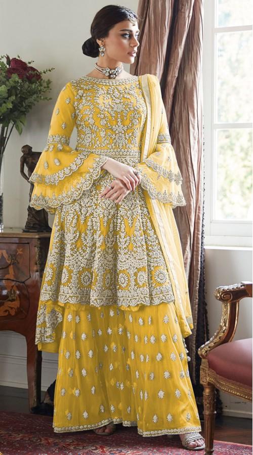 Yellow Net Bridal Palazzo Suit SUR7024017443