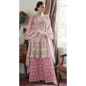 Pink Net Bridal Palazzo Suit SUR7024017444
