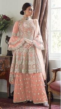 Peach Net Bridal Palazzo Suit SUR7024017446