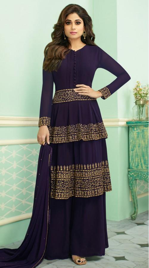 Blue Georgette Abaya Bridal Style Suit SUR7133017477