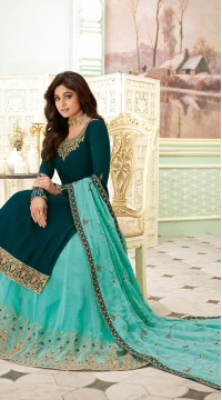 Teal Blue wedding wear embroidered lehenga dress SUR7113017680