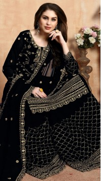 Embroidered Black Wedding Palazzo Suit SURDA104599402