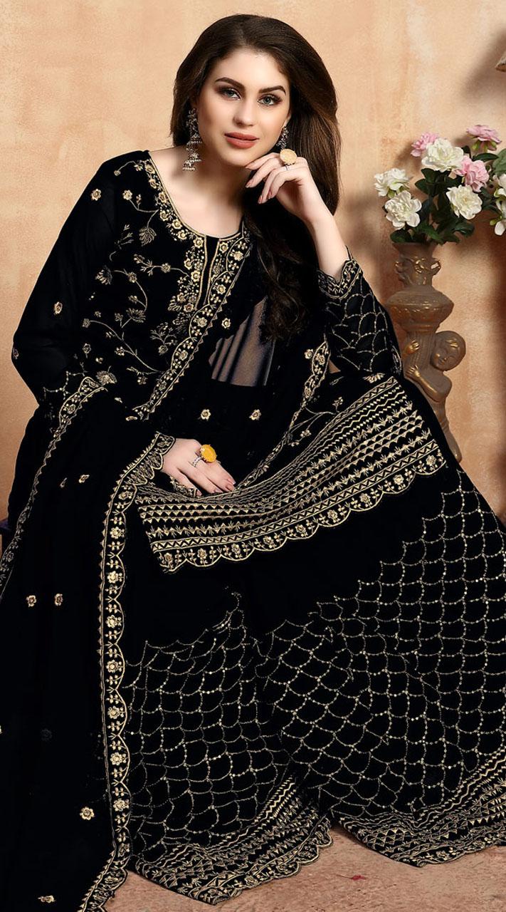 Embroidered Black Wedding Palazzo Suit SURDA104599402