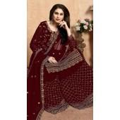 Embroidered Maroon Wedding Palazzo Suit SURDA104599404