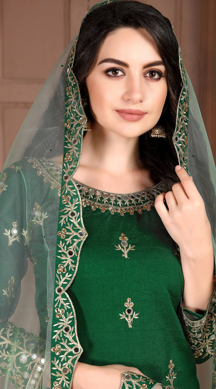 Green Art Silk Party Wear Patiala Salwar Suit SURDA107599701