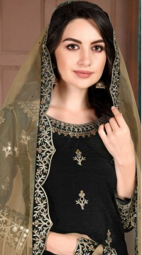 Black Art Silk Party Wear Patiala Salwar Suit SURDA107599702