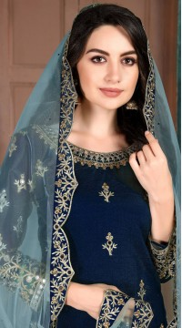 Blue Art Silk Party Wear Patiala Salwar Suit SURDA107599703