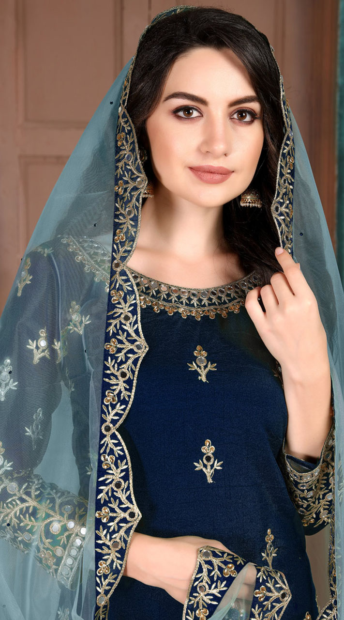 Blue Art Silk Party Wear Patiala Salwar Suit SURDA107599703
